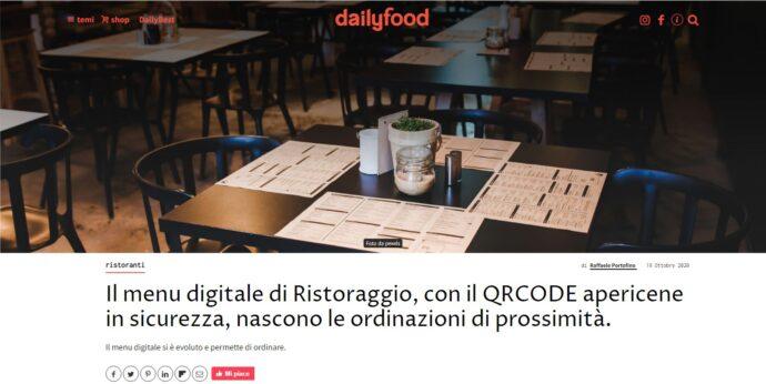 Dailyfood Il menu digitale di Ristoraggio