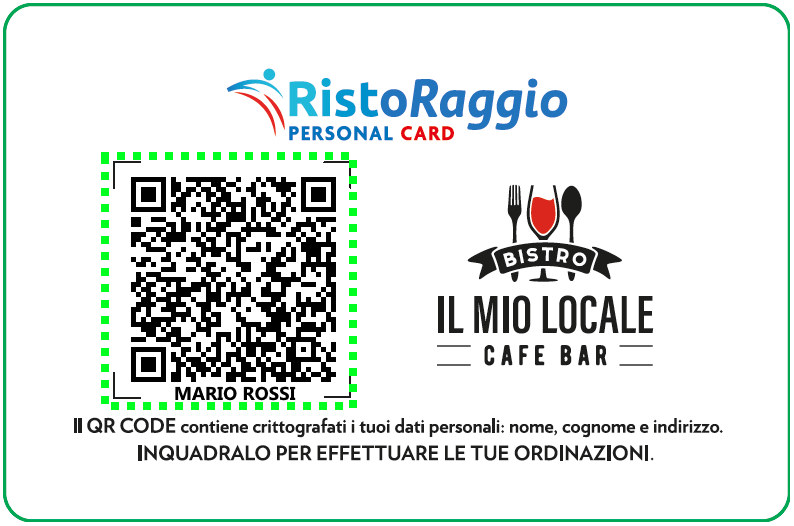 personal card mario rossi con overlay qrcode
