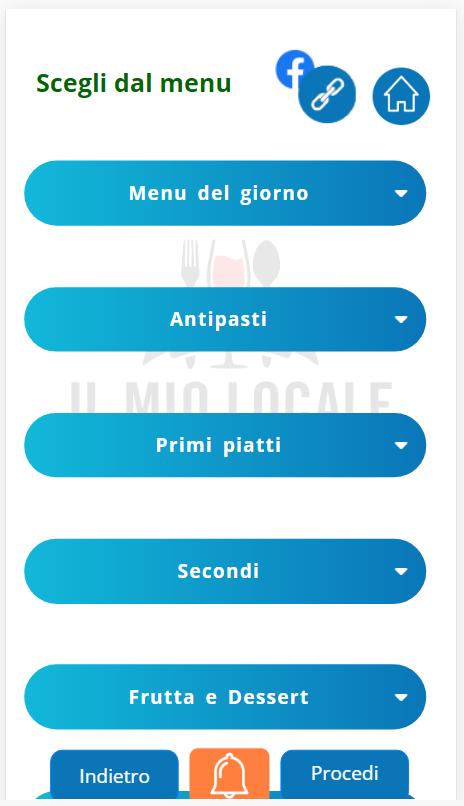 il mio locale menu sezioni
